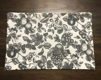 Fruits Black and White Toile Placemats Handmade