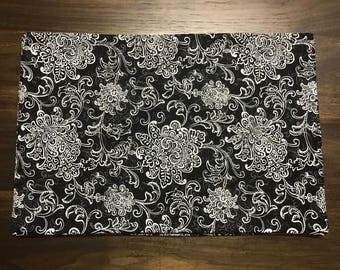 Swirling Damask Black and White Toile Placemats Handmade