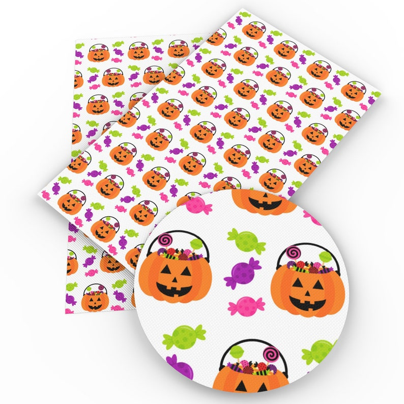 1 Pumpkin Jack O Lantern Halloween Leatherette Faux Leather Fabric Sheets Fabric Material DIY Hair Bows 1mm Thick D22-07