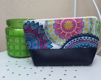 Pouch Pu leather fabric and blue multicolored patterns
