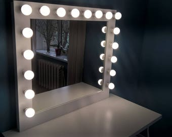 Xl hollywood vanity mirror 43 x 27 makeup mirror etsy large hollywood vanity mirror makeup mirror with lights wall hangingfree standing bulbs not included aloadofball Image collections