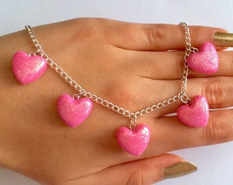 Pink Heart Necklace,Valentine's Necklace,Valentine's Jewelry,Pink Glitter Heart Charm Necklace,Alice in Wonderland Necklace,Romantic Jewelry
