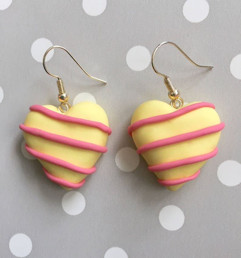 White Chocolate Earrings Polymer Clay Chocolate Handmade Polymer Clay Earrings Chocolate Truffle Earrings White Chocolate Heart Earrings