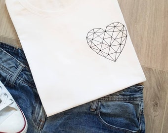 590575a09b93 White t-shirt with black geometric heart detail and be kind on the sleeve  ladies soft cotton tee small medium large extra 8 10 12 14 16