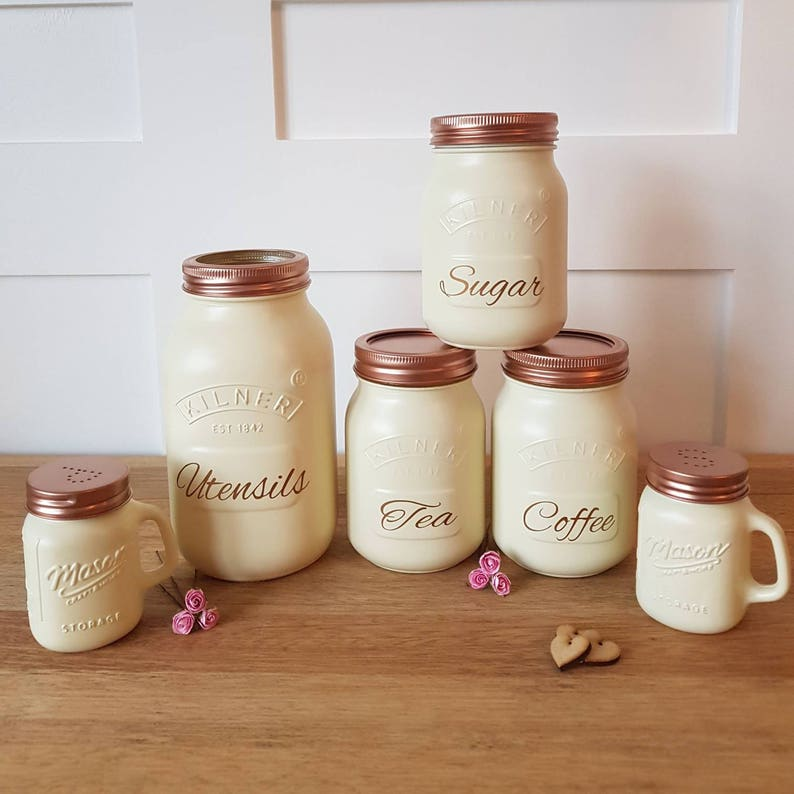 3bf552adc2a3 Tea coffee sugar canister set CREAM copper hand painted made kitchen  storage home decor country shabby chic 3 piece kilner jar SMALL