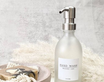 White label collection 300ml ETCHED frosted GLASS bottle shampoo conditioner hand wash metal pump dispenser reusable refillable waterproof