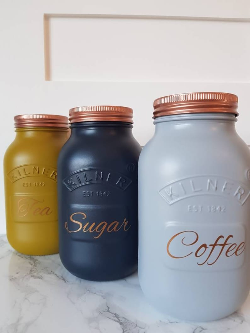 22a63ca686f6 Tea coffee sugar canister set Mustard Navy & Grey copper silver painted  made kitchen storage home decor 3 piece kilner jar LARGE
