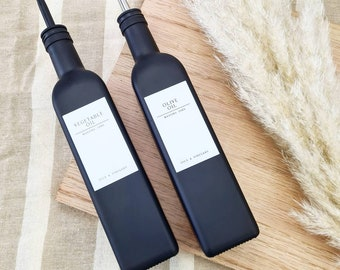 White label collection Matte black oil bottles 500ml masons jars original