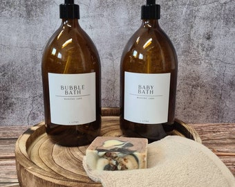 White label collection 1 litre glass bottles with metal or plastic soap dispenser reusable refillable eco friendly recycled glass bathroom