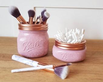 Dusky pink grey white marble effect mason ball jar make up brush holder dressing table gift for her Valentine mothers day birthday