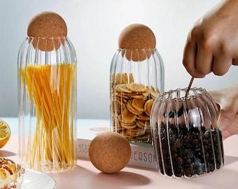 Ribbed Glass jar with cork ball lid stopper, kitchen storage, bathroom storage, home decor, tea coffee sugar canister set bath salts sweets