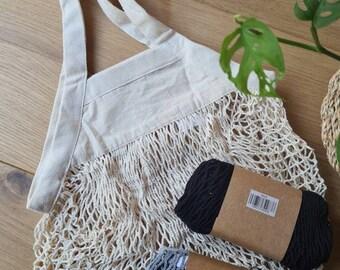 Reusable MINI organic cotton mesh grocery shopper tote bag toiletries kitchen storage bathroom storage zero waste shopping bag