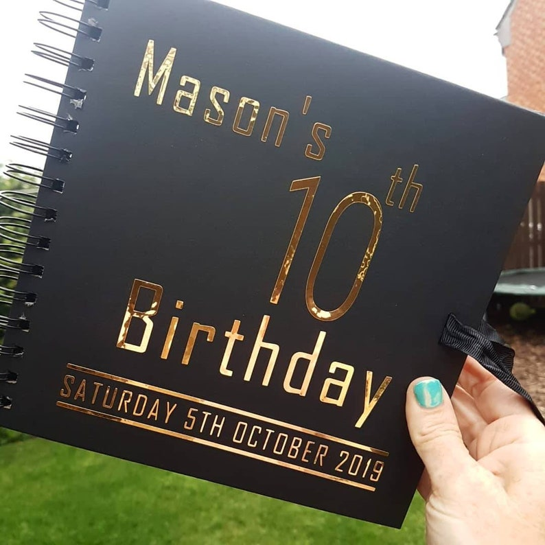 ANY AGE BIRTHDAY GUEST BOOK//PHOTO SCRAPBOOK ALBUM PERSONALISED GOLD AND BLACK