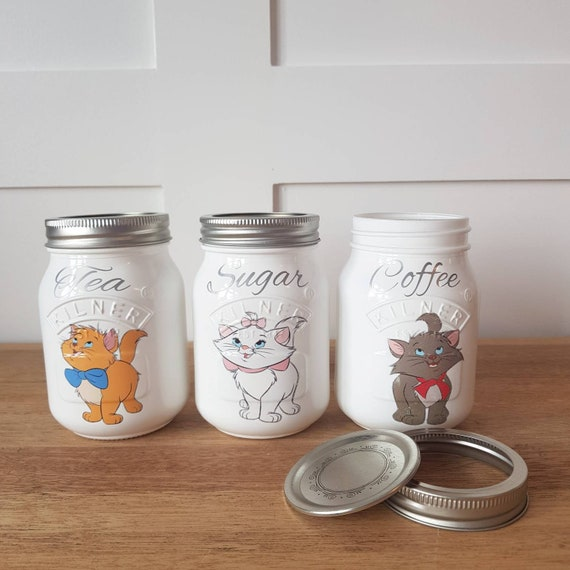 Tea coffee sugar 3 piece canister kilner jar set kitchen storage hand made  painted decoupage Marie Toulouse Berlioz aristocats SMALL