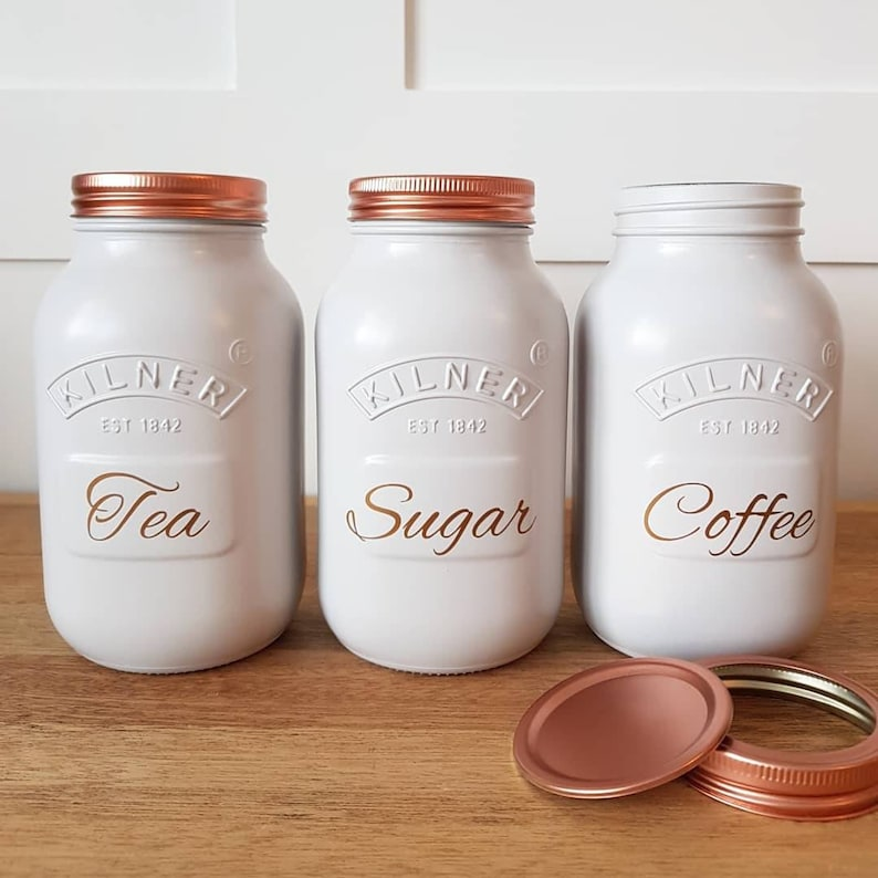 3ff0f1b2ba35 Tea coffee sugar canister sets kilner jars in LIGHT GREY kitchen storage  home decor interior copper 3 piece goals hand made painted LARGE