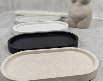 OVAL tray to fit the 350ml jars, the 500ml bottles and cotton buds and cotton pad jars black white sandstone granite tray only