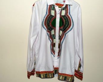 White African Dashiki Print Mens Longsleeve Shirt (Chest Size 30)