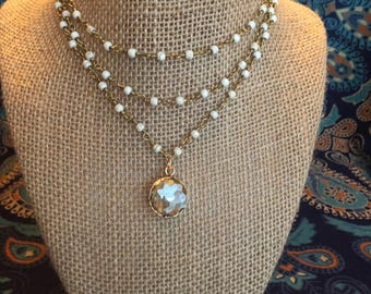 Triple layered necklace with crystal pendant - Happy Go Lucky Necklace