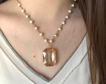 White bead with square crystal - Happy go lucky Necklace