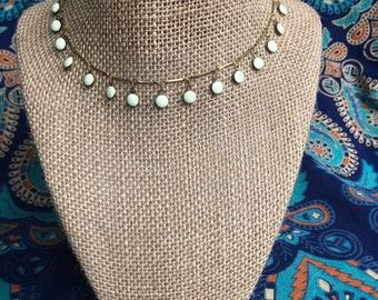 White Flat Bead Dangle Choker - White Bead Choker - Choker - Happy Go Lucky Necklace
