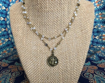 Cross double layered necklace -cross necklace -happy go lucky