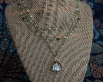 Triple layered neutral bead necklace with Triangle Crystal  - happy go lucky necklace