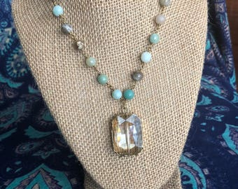 Cool and casual Square crystal necklace - Crystal necklace - Dangle necklace