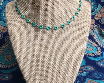 Turquoise Donut Bead Neckace - Donut Bead necklace - happy go lucky necklace