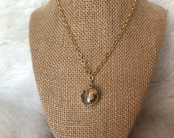 Gold chain with circle crystal pendant - happy go lucky necklace