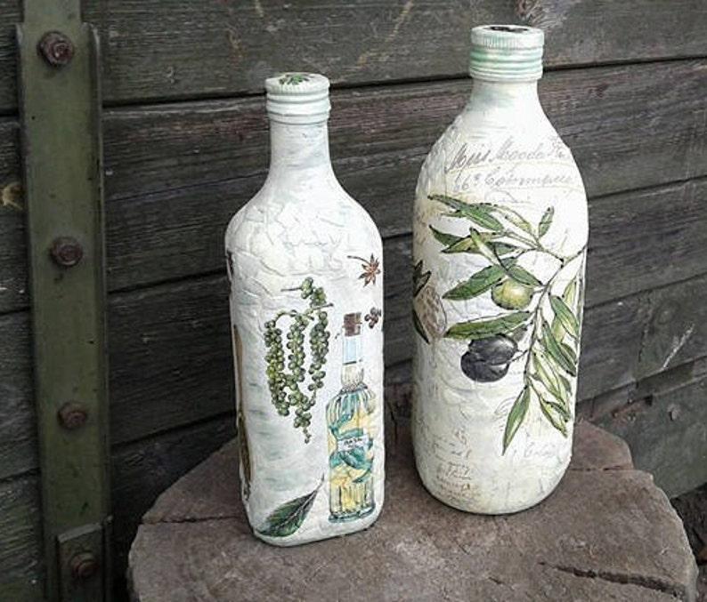 French Country Decor Olive Oil Bottle Decoupage Dispenser Oil Etsy