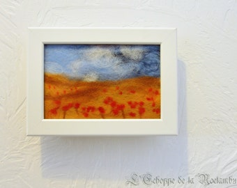 Handmade woolen painting, field of poppies
