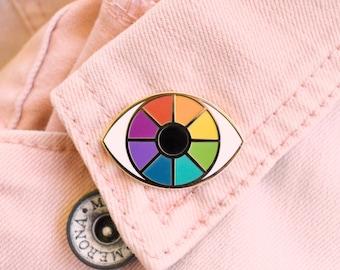 Rainbow Eye Enamel Pin   LGBT Pride Color Wheel   Third Eye Queer Hard Enamel Lapel Pin