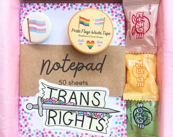 Trans Gift Box   Transgender Pride Care Package   Coming Out Gift Stationery Set Vinyl Sticker Pin Notepad