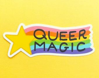 Queer Magic Sticker   Rainbow LGBT Pride Vinyl Sticker   Gay Gift Laptop Sticker Water Bottle Sticker