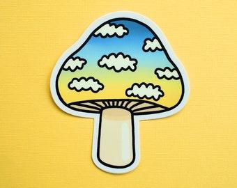 Sunset Mushroom Sticker   Ombre Clouds Vinyl Sticker   Trippy Hippie Groovy Stoner Laptop Sticker Water Bottle Sticker