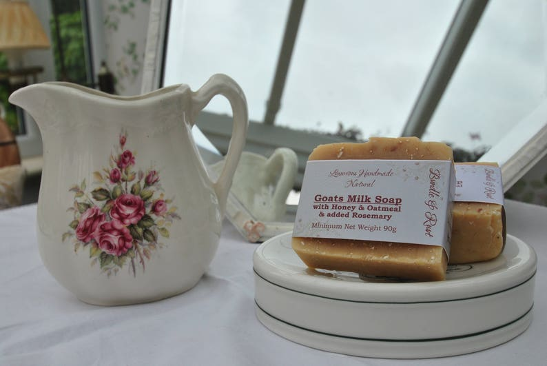 Goats Milk Soap with Honey & Oatmeal  added Rosemary image 1