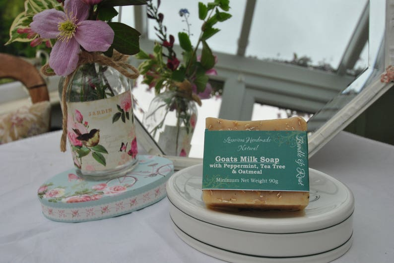 Goats Milk Soap with Peppermint Tea Tree & Oatmeal image 0