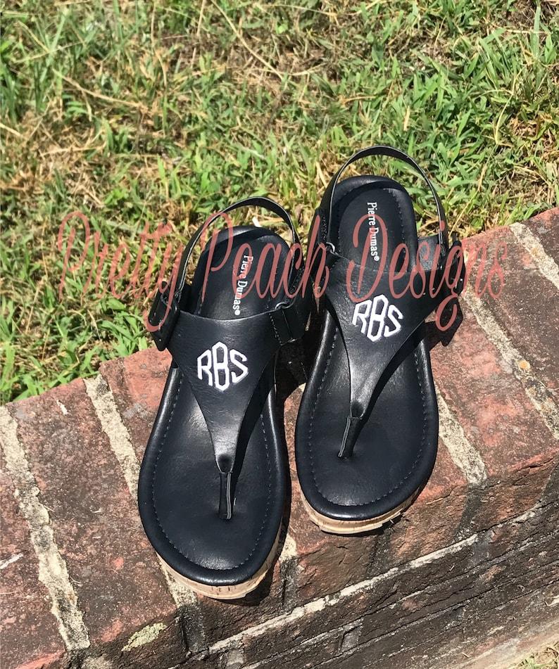 9d67aedbdaa1 Monogram Wedge FREE SHIP Ladies Sandals Black Wedge Sandal