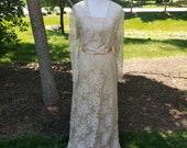 American Designer Jessica McClintock Vintage Strapless Lace Evening Dress and Bolero Size 12 - Wedding Dress - Bridal