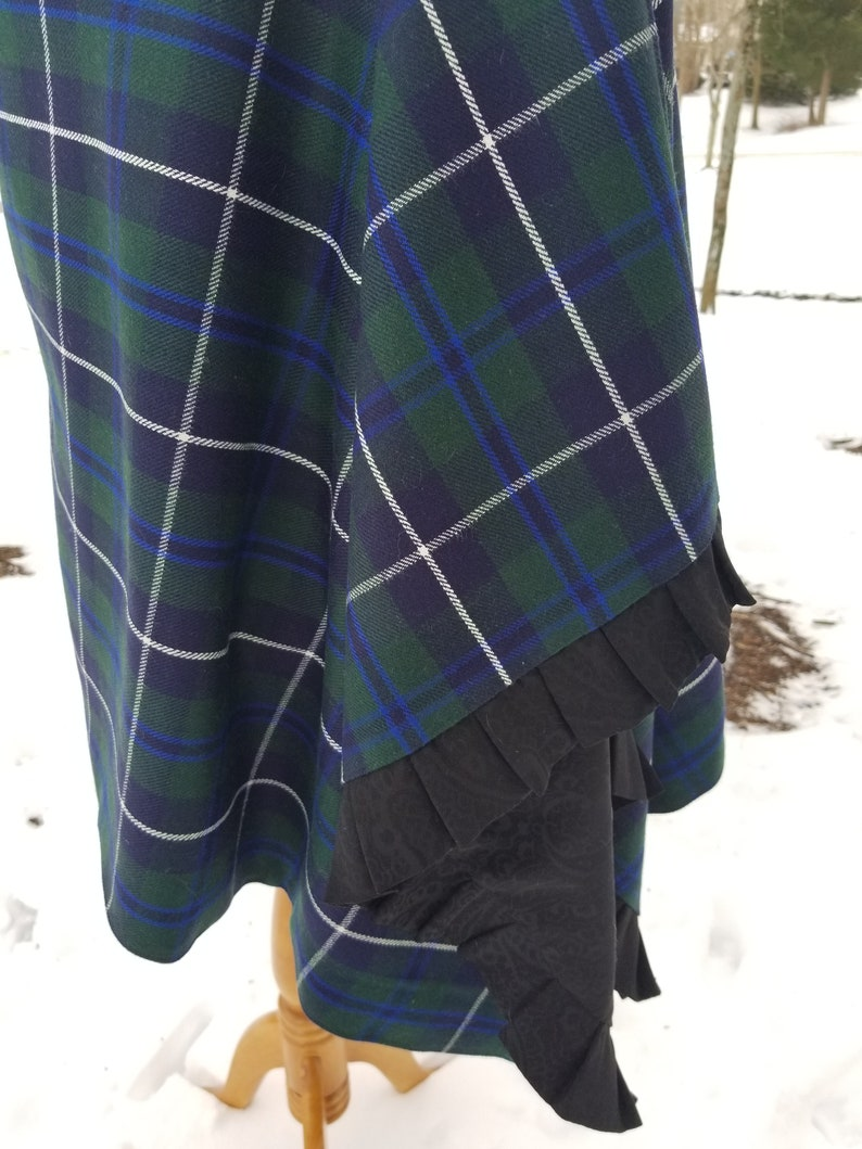 376a7fa88f Plaid Cape/Wrap/Poncho - Douglas Wool Blend Tartan - Button Fastening on  the Shoulder - Pleating Detail - One of a kind