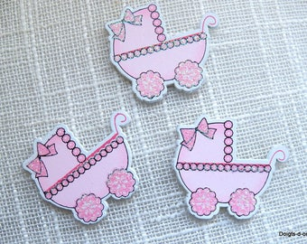 Set of 5 landeaux small painted wooden pink