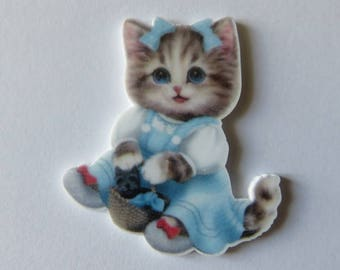 5 resin figurine, adorable female cat, appliques for your home for baptism, birth or birthday