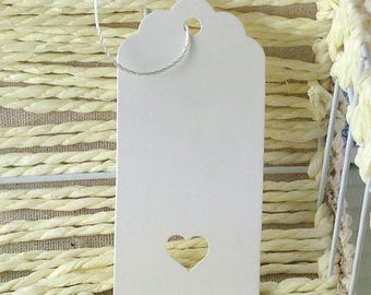 10 labels model medium white cardstock tag with heart