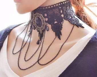 Elegant Gothic black lace collar with Medallion
