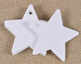 Star 25 tags in white cardstock for the holiday season