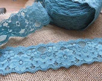 Lagoon blue elastic lace width 4cm