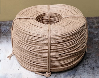 3mm Unlaced Genuine Danish Paper Cord   Natural   Seat weaving material for Danish/Mid Century Modern furniture designs