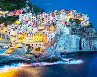 Cinque Terre Italy Photograph, Manarola, Tuscany, Hillside Towns, Fine Art Travel Photography, Multiple Print Options
