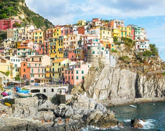 Cinque Terre Italy Photograph, Manarola, Tuscany, Hillside Towns, Fine Art Travel Photography