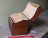 Vintage LARGE box (long enough for pencils) by HEDBERG dark-brown stained wood (oak ) light interior brass hinges fine dove-tailing